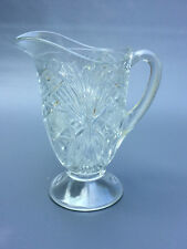Antique clear pressed glass milk pitcher, Cambridge or Beatty-Brady Glass c.1908