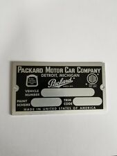 SERIAL TAG  - PACKARD MOTOR CAR CO, with Paint/Trim Code