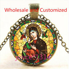 Virgin Mary Stained Cabochon bronze Glass Chain Pendant Necklace TS-4585