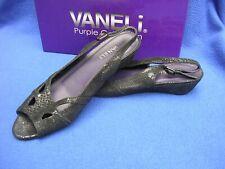Vintage Pair Vaneli Ertha Black Pitoprt Sling Back Wedge Sandal 9 S Slim Shoe