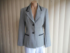 ANDRE JOHN JACKET 8 LIGHT GREY & BLACK BUSINESS/CAREER LINED PURE WOOL D/CLEAN