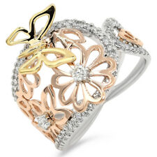 Diamond Butterfly Right Hand Band Ring 18K Rose White Yellow Gold Pave