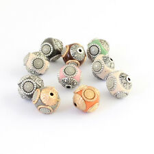 10pcs Handmade Indonesia Beads Round with Metal Cores Mixed Color Craft 14~15mm