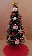 Dollhouse Miniatures Handcrafted Christmas tree w/santa, snowflakes & red balls