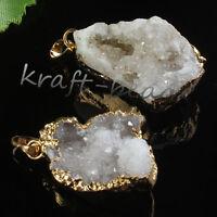 1x Natural Rock Crystal Drusy Clusters Geode Random Shape Stone Pendants Jewelry