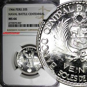 PERU Silver 1966 20 Soles NGC MS66 Peru-Spain Naval Battle Mintage-4,001 KM# 249
