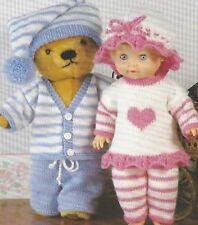 "Baby Doll and Teddy Pyjama Party Set Knitting Pattern DK 12-22"" 1063"