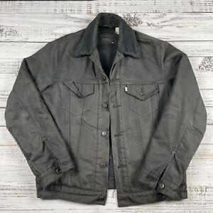 Men's LEVI'S Trucker Sherpa Fleece Lined Sz M - Gray Denim Jacket