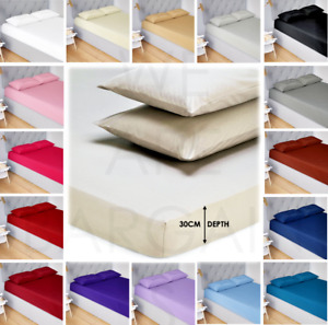Extra Deep 30CM Fitted Bed Sheet 100% Poly Cotton Single Double King Sheets