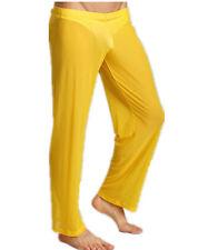 Yellow Men's Sheer Mesh Long Pants Home Wear Gauze Underwear C-through Pants XL