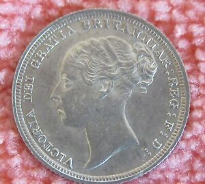 1887  Young Head Victoria Silver Sixpence  Very High Grade.