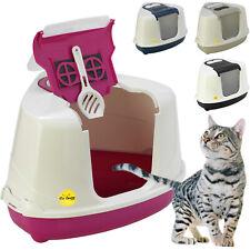 More details for large corner cat litter tray hooded box covered toilet flip bundle scoop filter