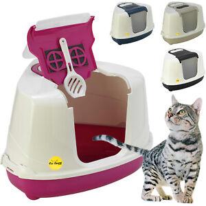 Large Corner Cat Litter Tray Hooded Box Covered Toilet Flip Bundle Scoop Filter