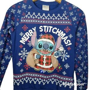 Disney Merry Stichmas Christmas Light Up Ugly Sweater Sweatshirt Size XS Juniors