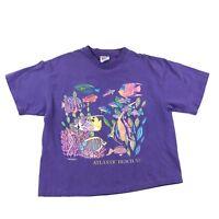 Vintage 90s T Shirt Colorful Ocean Fish Atlantic Beach NC Graphic Tee Hanes USA
