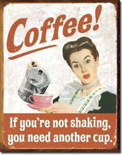 Coffee If You're Not Shaking You Need Another Cup Distressed Retro Vintage Tin S