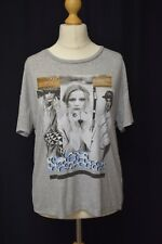 Ladies River Island Size 16 Grey Ribbed Female Picture Print Short Sleeve Tshirt