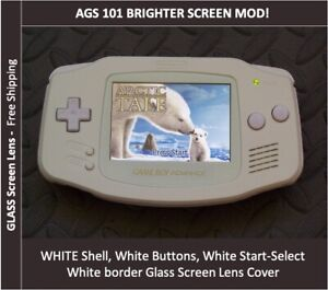 Game Boy Advance WHITE ON WHITE System AGS101 Backlit Mod-Glass Screen