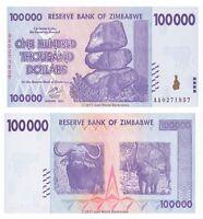 Zimbabwe 100000 Dollars 2008 P-75 Banknotes UNC