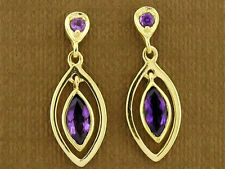 E094- Genuine 9ct Yellow Gold Natural Amethyst Dangling Stud Earrings Drop