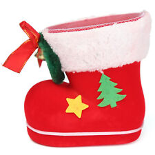 New Christmas Xmas Flocking Red Boots Socks Large Candy Winter Gift Bag for Kids