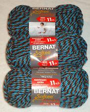 Bernat Softee Chunky Yarn Lot Of 3 Skeins (Teal Twists #28342)