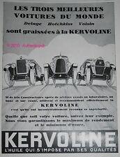 PUBLICITE KERVOLINE HUILE AUTOMOBILES DELAGE HOTCHKISS VOISIN DE 1928 FRENCH AD