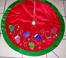 48 IN RED & GREEN VELVET MITTENS SNOWFLAKE TREE SKIRT CHRISTMAS DECORATION