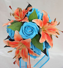 Posy Wedding Bouquet, Real Touch Orange Lillies with Turquoise Roses