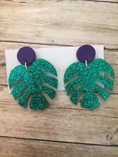 Ladies,Fashion,Purple,Polymer Clay,Green,Leaf,Acrylic,Stud,Earrings