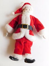 Vintage Hand Painted Porcelain Santa Claus Ornament Red Velvet Suit Christmas