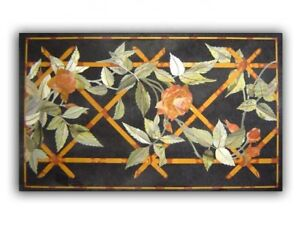 "60"" x 36"" Black Marble coffee Table Top Pietra dura Inlay art Handmade Work"