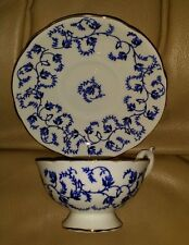 Coalport Tea Cup & Saucer Set QUEENSTON White Blue Floral Garland Gold Trim NICE