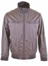 ESPRIT Mens Windbreaker Jacket UK 44 2XL Brown Check Polyester Slim Fit  GN16
