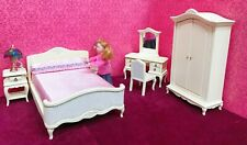 Dollhouse Miniature  French Style  Dressed Bed Bedroom Set - 6pcs. (ONLY)