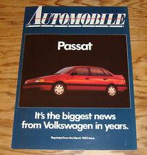 1990 Volkswagen VW Passat Automobile Magazine Sales Brochure 90