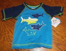 Sz 0-3 Mth. NEW Wave Zone Boys Blue Shark Swim Suit Rash Guard Shirt SPF 50 nwt