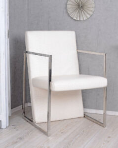 Armchair Ostrich Kaminsessel White Armrest Chair Loft Lounge Upholstered