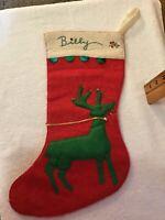 WOW! Vintage Christmas Felt Stocking GREEN REINDEER Ornament Decoration BILLY