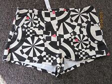 BNWT TopShop Shorts Size 14 Denim Cream Black Casino Playing Card Dress Up Pink
