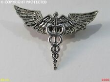 steampunk badge brooch pin wings caduceus staff of hermes rod of asclepius