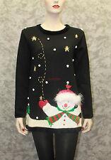 New Quacker Factory Snowman Christmas Tunic Sweater - Chenille Trim -Size Xsmall