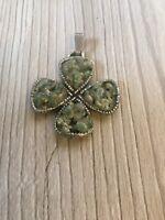 Vintage Agate Stone Four Leaf Clover Shamrock Pendant