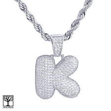"""K Initial Silver Plated Custom Bubble Letter Iced CZ Pendant 24"""" Chain Necklace"""