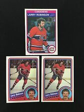 (3) LARRY ROBINSON 1982 O-PEE-CHEE & 1984 TOPPS MONTREAL CANADIENS HOCKEY CARDS