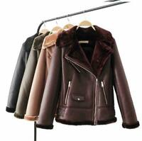 Womens Aviator Leather Faux Fur Lined Shearling Ladies Winter Jacket Coat Autumn