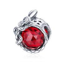 Authentic 925 Silver Red Zircon CZ Rose Flower Charm Beads fit Original Bracelet