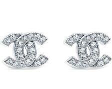 Chanel CC Logo Silver Tone Stud Earring