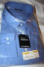 Walbusch Nylon Herren Männer Oberhemd Hemd Gr. 51 - 52 Langarm Azur Blau Vintage
