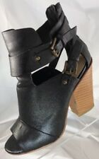 Leile Stone LORIKA Black Leather Mules with Zipper Back and Buckle Straps Size 7